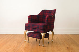 Brass Leg Chair & Ottoman