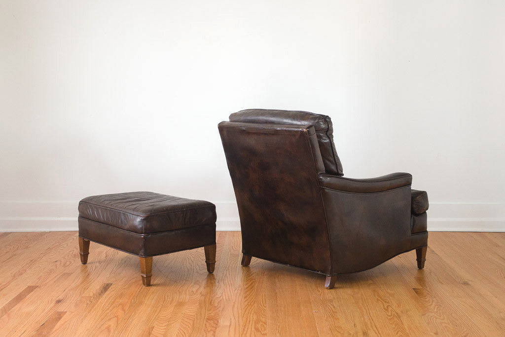 Leather Club Chair & Ottoman