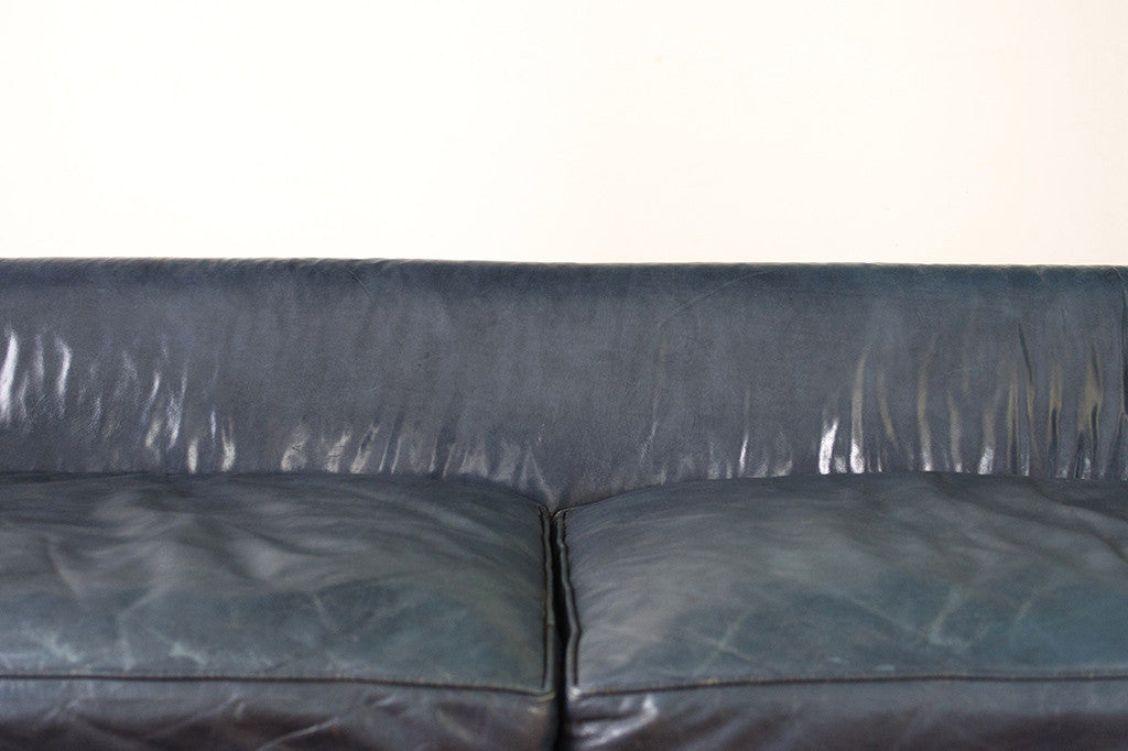 Navy Leather Chesterfield
