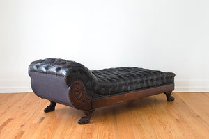 Antique Leather Chaise