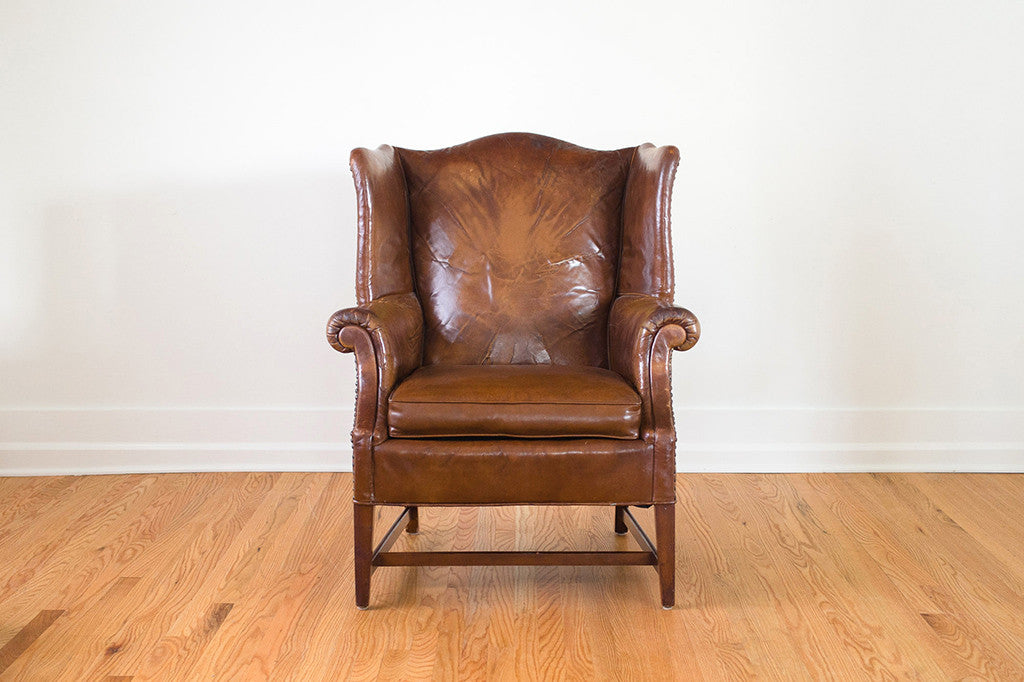Distressed Leather Wingback