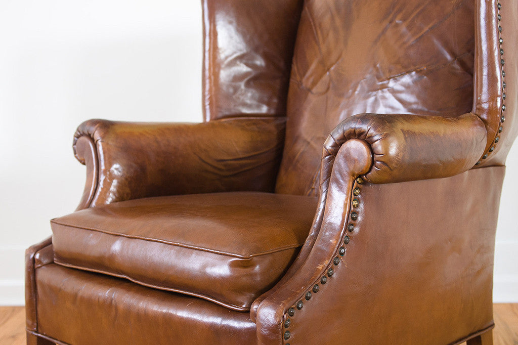 Pleasant Distressed Leather Wingback Camellatalisay Diy Chair Ideas Camellatalisaycom