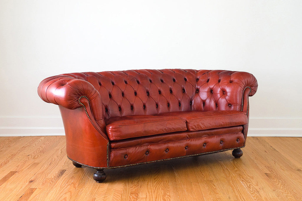 Red Leather Chesterfield Homestead Seattle
