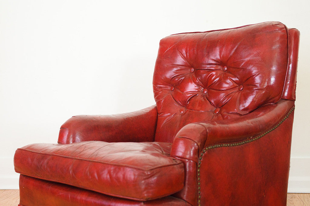 Attrayant Red Leather Chair U0026 Ottoman