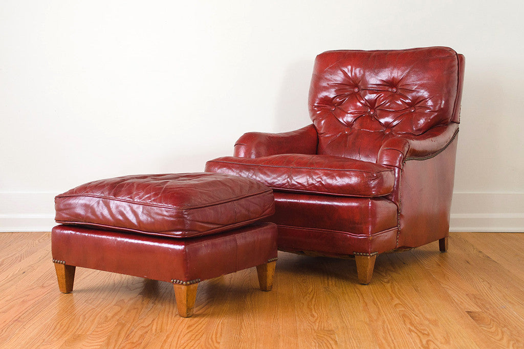 red leather chair u0026 ottoman