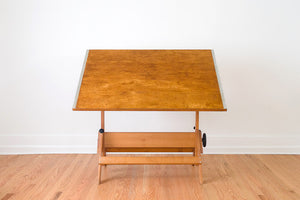 Large Oak Draftsman's Table
