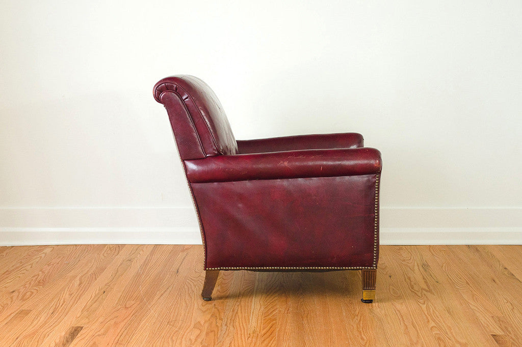 Burgundy Leather Club Chair