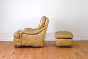 Mustard Leather Chair & Ottoman