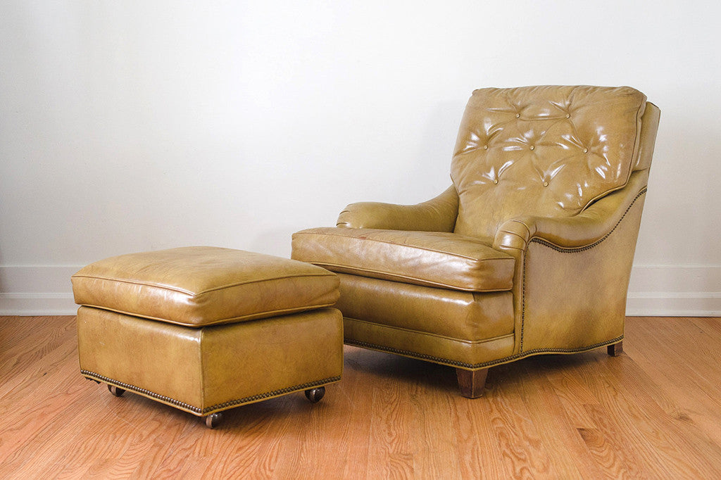 Awesome Mustard Leather Chair Ottoman Alphanode Cool Chair Designs And Ideas Alphanodeonline