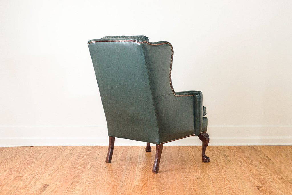 Outstanding Green Leather Wing Chair Camellatalisay Diy Chair Ideas Camellatalisaycom