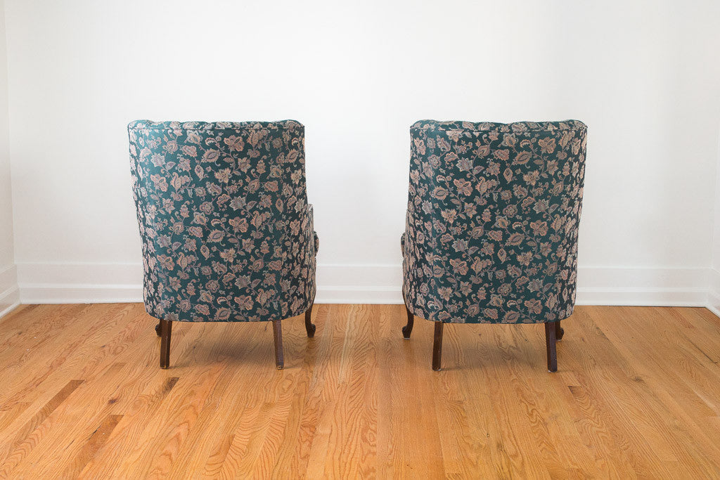 Teal Floral Tufted Chairs