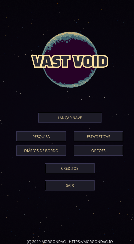 Vast Void Portuguese-Brazil Start Screen