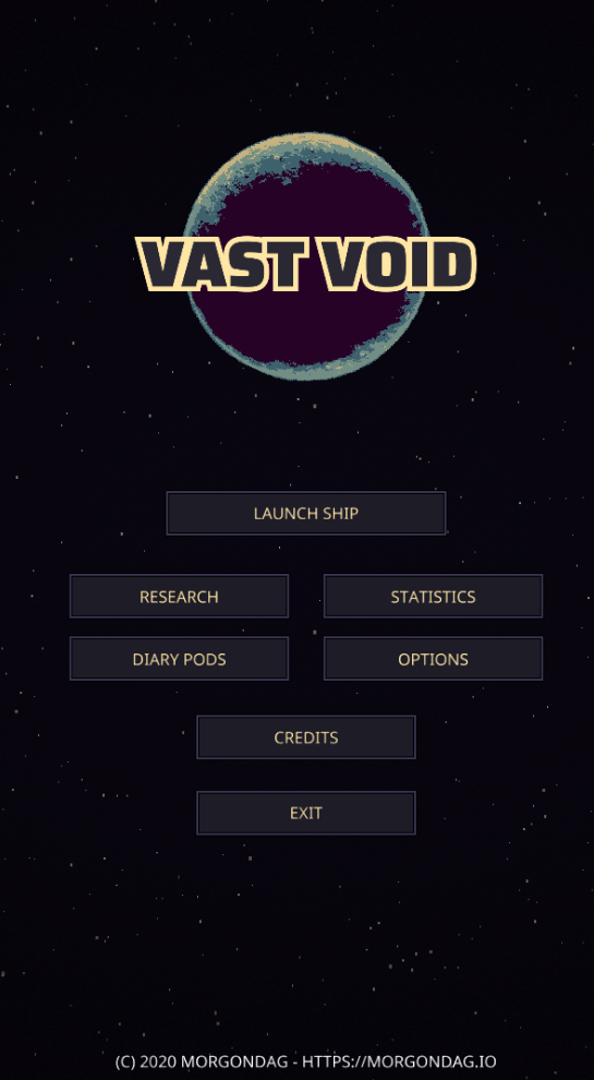 Vast Void English Start Screen