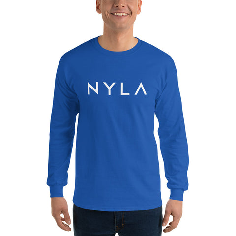 Men's Long Sleeve T-Shirt in Nyla Blue, Grey, Navy, Indigo, or Light Blue