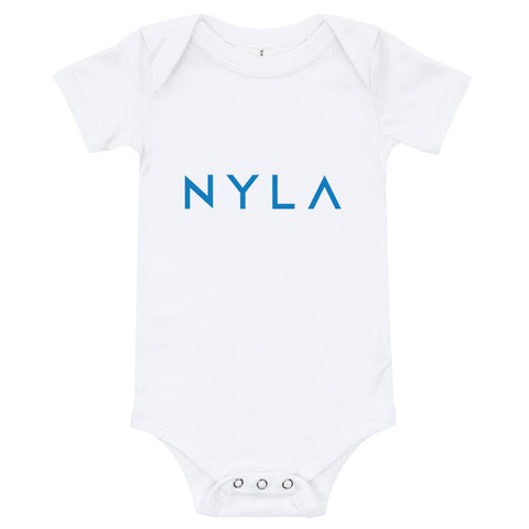 NYLA White with Blue Text