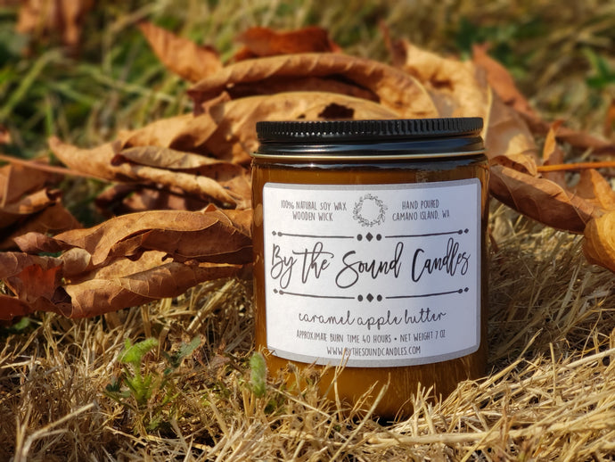 Caramel Apple Butter Wood Wick Soy Candle 7oz