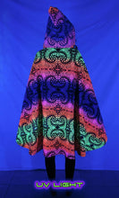 Load image into Gallery viewer, Hooded Cape : Rainbow Fractal - Women Capes - Space Tribe