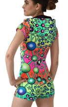 Load image into Gallery viewer, Hooded Playsuit : Atomic Rainbow - Women Catsuits - Space Tribe