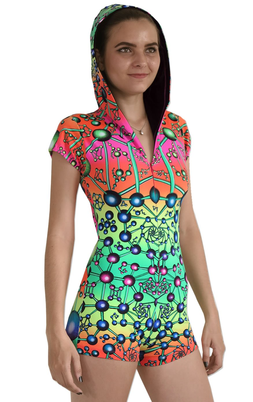 Hooded Playsuit : Atomic Rainbow - Women Catsuits - Space Tribe