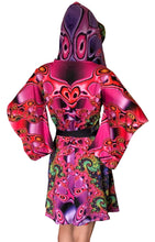 Load image into Gallery viewer, Hooded Kimono Dress : Chromatic Fractal - Women Dresses - Space Tribe