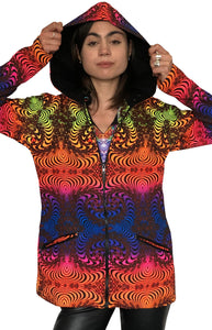 Womens Hooded Jacket : Rainbow Fractal