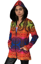 Load image into Gallery viewer, Womens Hooded Jacket : Rainbow Fractal