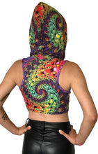 Load image into Gallery viewer, Hooded Crop Top : Whirlpool Fractal