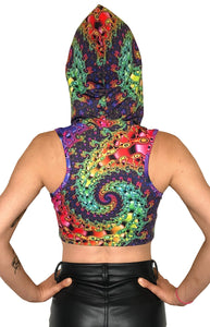 Hooded Crop Top : Whirlpool Fractal