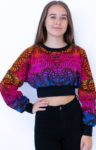 Cropped Sweat : Rainbow Fractal - Women Tops - Space Tribe