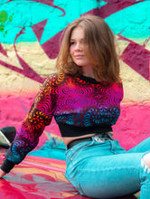 Load image into Gallery viewer, Cropped Sweat : Rainbow Fractal - Women Tops - Space Tribe
