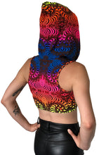 Load image into Gallery viewer, Hooded Crop Top : Rainbow Fractal