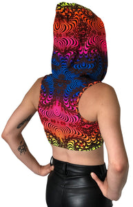 Hooded Crop Top : Rainbow Fractal