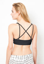 Load image into Gallery viewer, Cross Back Crop Bra- Black