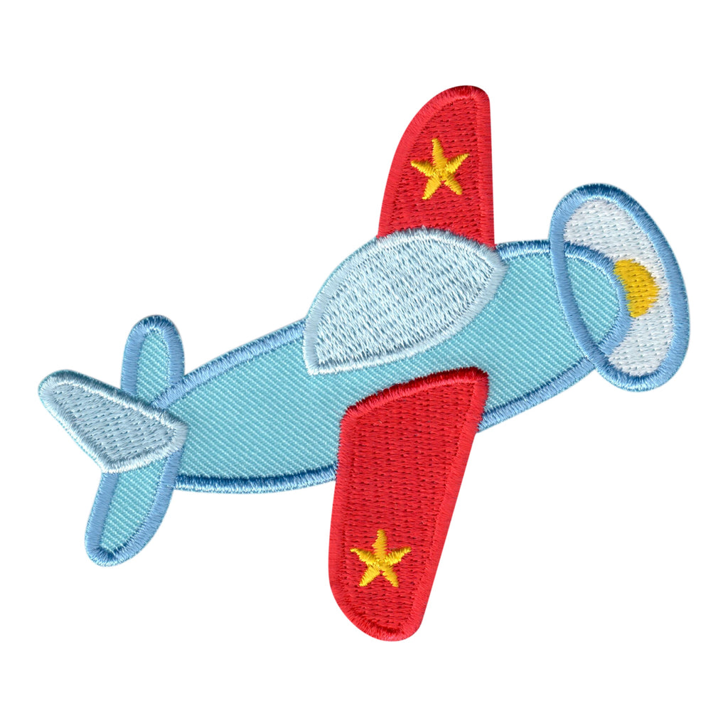 Airplane embroidered iron on patch and sew on applique for kids