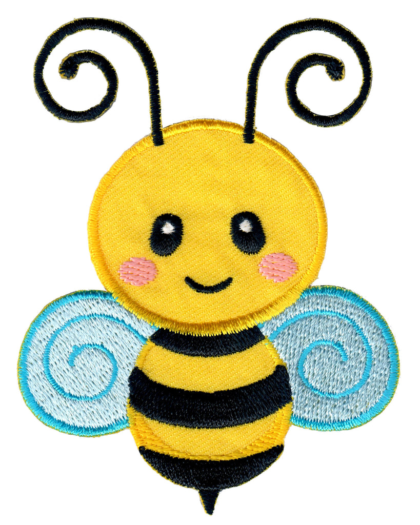 Bee embroidered iron on patch and sew on applique for kids