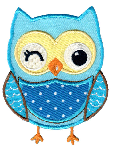 Blue Owl Iron On Patch for Kids Children Sew On Applique