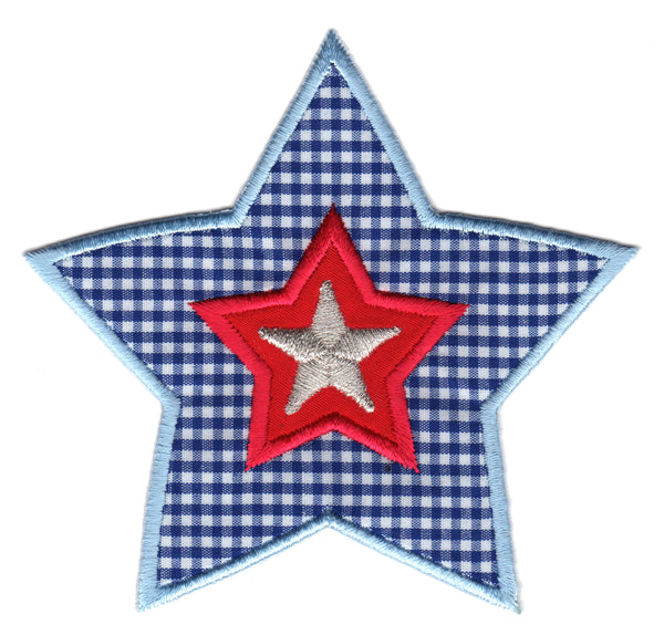 Blue All Star Iron-On Embroidered Appliqué Patch for Kids