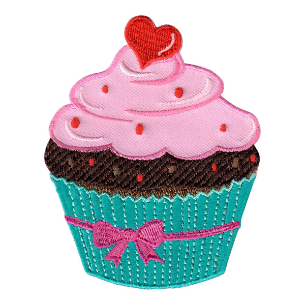 Cupcake - Pink and Blue Iron On Patch - Iron On Applique