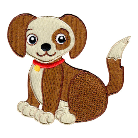 Puppy Dog Iron On Patch - Embroidered Sew On Applique for kids