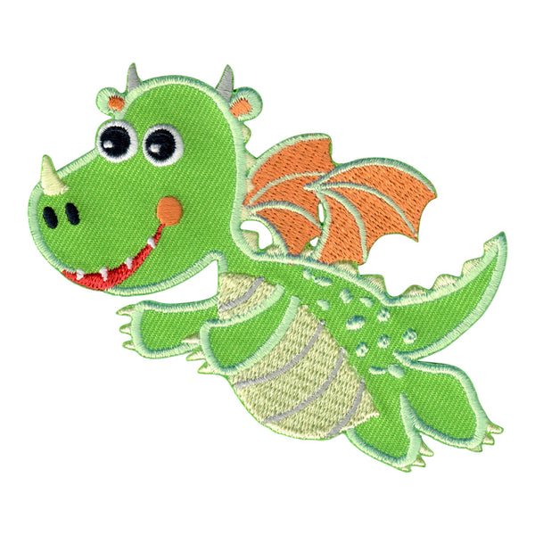 Dragon embroidered iron on patch and sew on applique for kids