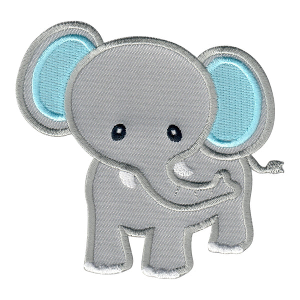 Elephant embroidered iron on patch and sew on applique for kids