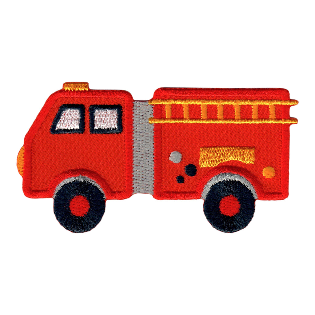 Fire Truck Iron-On Embroidered Appliqué Patch for Kids