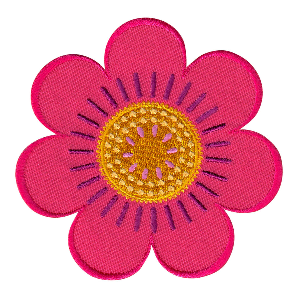 Flower embroidered iron on patch and sew on applique for kids