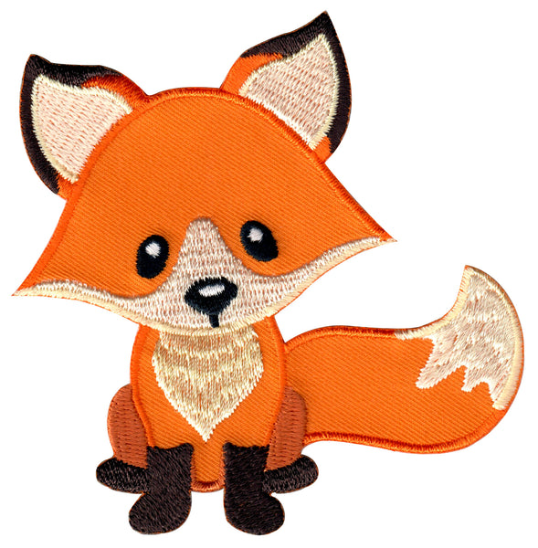 Fox embroidered iron on patch and sew on applique for kids