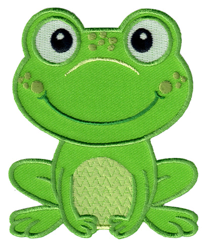 Frog iron on patch and embroidered sew on applique for kids
