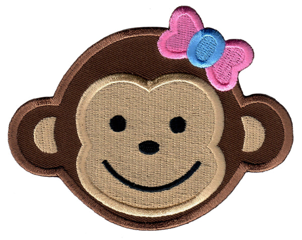 Girl Monkey Iron On Patch for Kids Children Sew On Applique