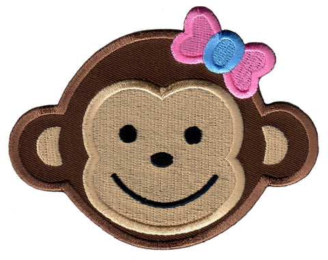 Girl Monkey Iron On Patch and Embroidered Sew On Applique for kids