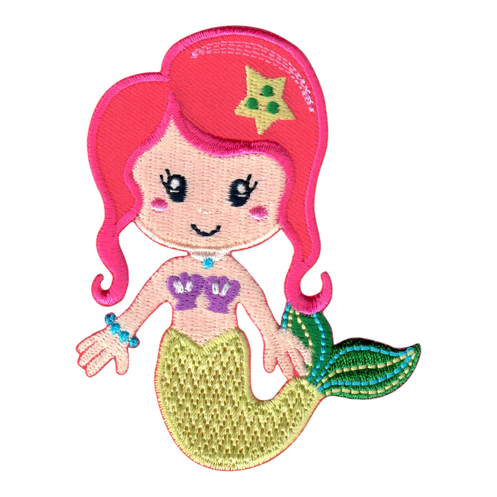 Mermaid Iron On Patch and Embroidered Sew On Applique for Kids
