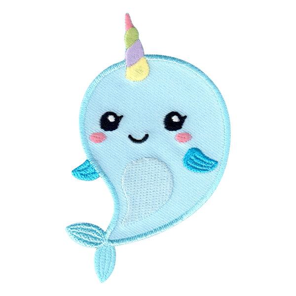 Narwhal embroidered iron on patch applique for clothing