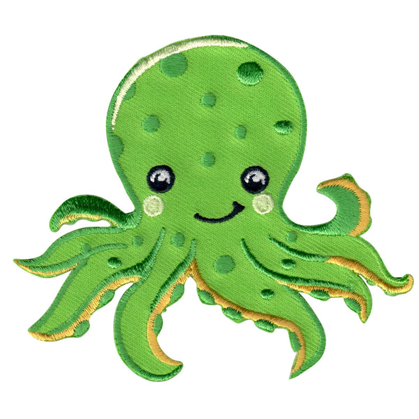 Octopus iron on patch and embroidered sew on appliqué for kids
